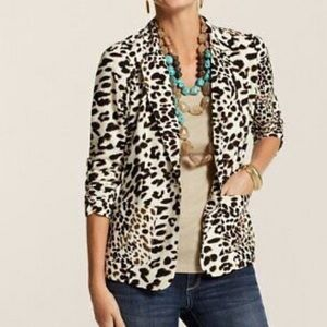 Chico's leopard single button blazer